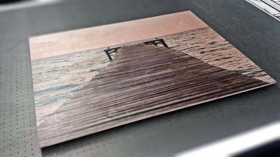 Cuadro embarcadero impreso sobre madera