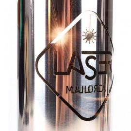 Corte láser de logotipo en tubo de acero Inox
